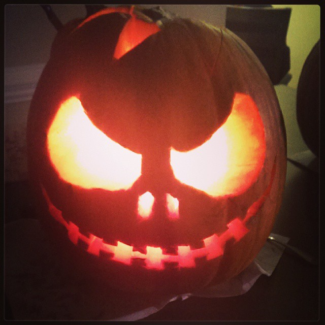 Here is my Jack Skellington! My first carved pumpkin!!