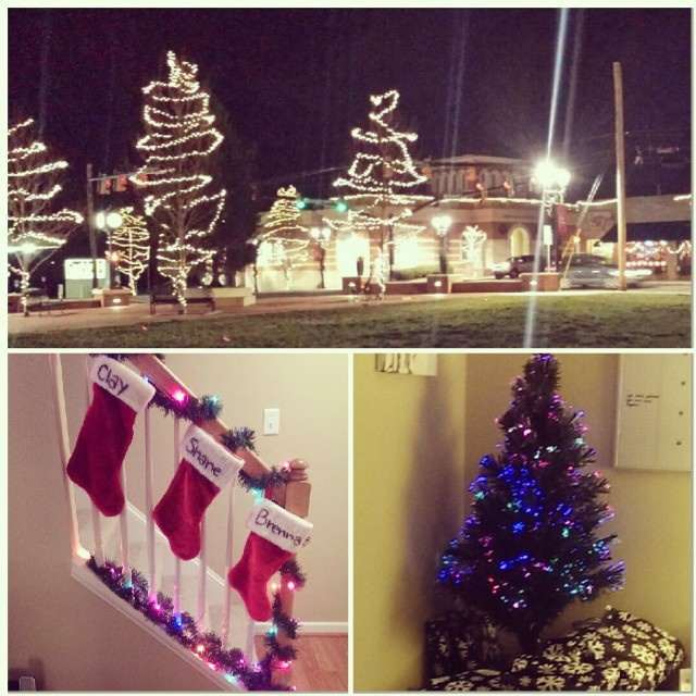 This is our small little hometown up top! At the bottom are our first home decorations for Xmas!
